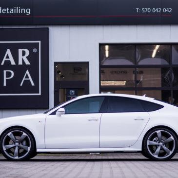 Audi A5 S line, CarSPA, detailing, hydrofobizacja szyb, powłoki ochronne, carwash, korekta lakieru, zabezpieczenie samochodu, stylizacja foliami