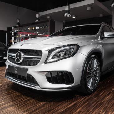 Mercedes GLA 45 AMG, CarSPA, detailing, powłoki ochronne, powłoki ceramiczne, hydrofobizacja szyb, powłoki ochronne, carwash, korekta lakieru, zabezpieczenie samochodu, stylizacja foliami,